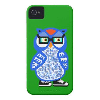 Capa de iphone 4 azul engraçado do verde da coruja capas para iPhone 4 Case-Mate