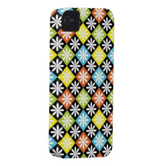 Capa de iphone 4 colorido floral do teste padrão capinhas iPhone 4