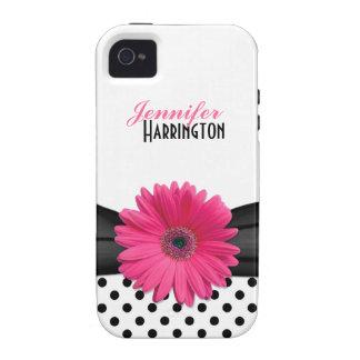 Capa de iphone 4 cor-de-rosa chique das bolinhas d capinhas para iPhone 4/4S
