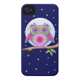 Capa de iphone 4 da coruja de flower power da Lua Capinhas iPhone 4