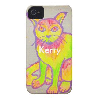 Capa de iphone 4 de néon pintado mão do gato