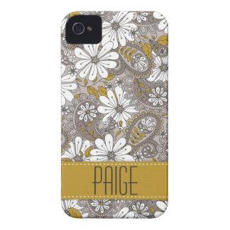 Capa de iphone 4 floral decorativo de Paisley Capa Para iPhone 4 Case-Mate