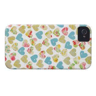 Capa de iphone 4 floral dos corações do chique capa para iPhone 4 Case-Mate
