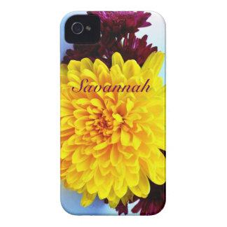 Capa de iphone 4 floral roxo amarelo personalizado capas para iPhone 4 Case-Mate