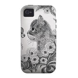 Capa de iphone 4 preto & branco do gato capas para iPhone 4/4S