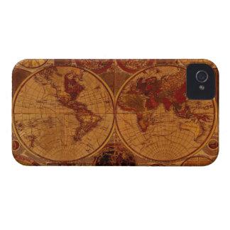 Capa de iphone 4 rústico velho do mapa do mundo do capinha iPhone 4