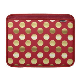 Capa De MacBook Air Bolinhas festivas da folha de ouro vermelhas