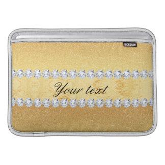 Capa De MacBook Air Folha e diamantes elegantes do brilho do ouro