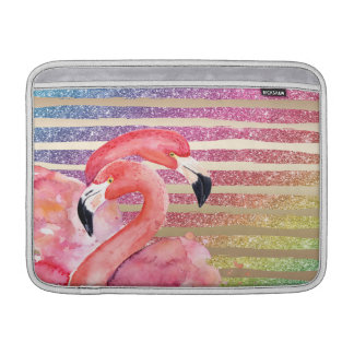 Capa De MacBook Air Listras do ouro do brilho dos flamingos da