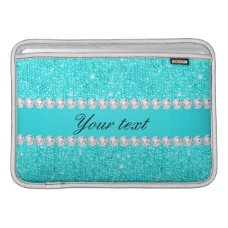 Capa De MacBook Air Sequins e diamantes personalizados de turquesa
