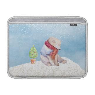 Capa De MacBook Air Urso polar e árvore de Natal na neve