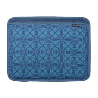 Capa De MacBook Azul floral geométrico do vintage no azul