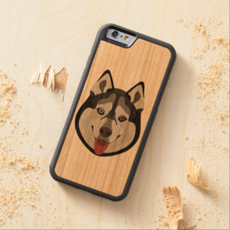 Capa De Madeira Cerejeira Bumper Para iPhone 6 A ilustração persegue o rouco Siberian da cara