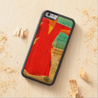 Capa De Madeira Cerejeira Bumper Para iPhone 6 A monge super do ajustado no vermelho