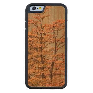 Capa De Madeira Cerejeira Bumper Para iPhone 6 Árvores coloridas cena da paisagem no lago glacier