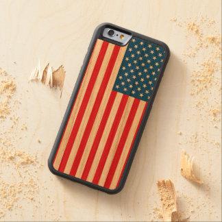 Capa De Madeira Cerejeira Bumper Para iPhone 6 Bandeira dos Estados Unidos da bandeira dos EUA