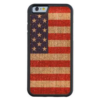 Capa De Madeira Cerejeira Bumper Para iPhone 6 Bandeira suja dos EUA