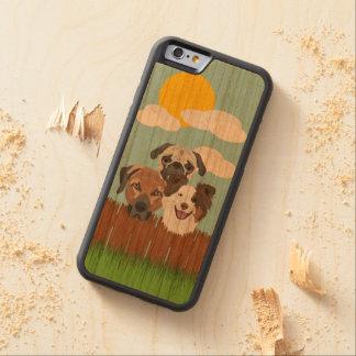 Capa De Madeira Cerejeira Bumper Para iPhone 6 Cães afortunados da ilustração em uma cerca de