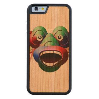 Capa De Madeira Cerejeira Bumper Para iPhone 6 Cara engraçada futurista do caráter do monstro