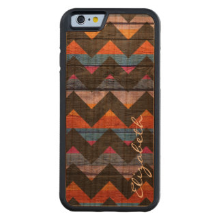 Capa De Madeira Cerejeira Bumper Para iPhone 6 Chevron colorido de madeira listra #20
