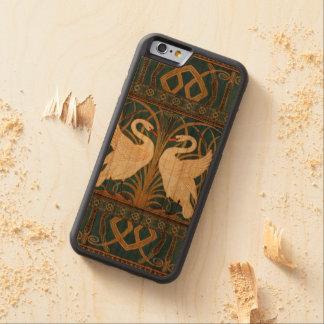 Capa De Madeira Cerejeira Bumper Para iPhone 6 Cisne do guindaste de Walter, precipitação e arte