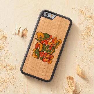Capa De Madeira Cerejeira Bumper Para iPhone 6 cor da reggae do cilindro e do baixo - logotipo,