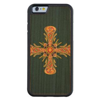 Capa De Madeira Cerejeira Bumper Para iPhone 6 Cruz da jóia