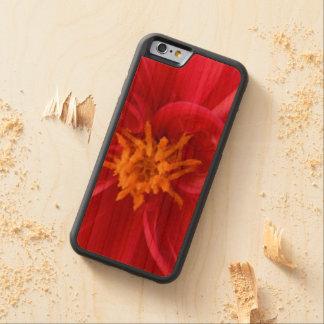 Capa De Madeira Cerejeira Bumper Para iPhone 6 Dália vermelha bonito -