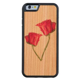 Capa De Madeira Cerejeira Bumper Para iPhone 6 Foto das rosas vermelhas