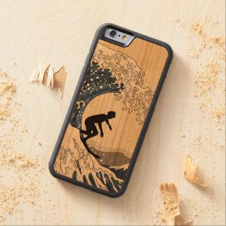 Capa De Madeira Cerejeira Bumper Para iPhone 6 O grande surfista de Kanagawa