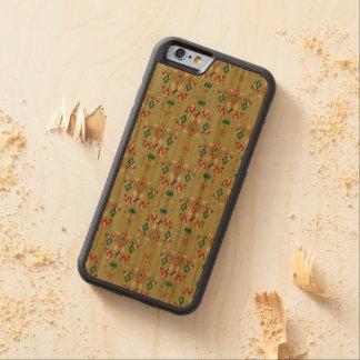 Capa De Madeira Cerejeira Bumper Para iPhone 6 Ornamento asteca tribal étnico do vintage