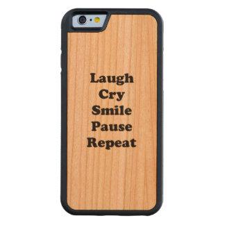 Capa De Madeira Cerejeira Bumper Para iPhone 6 Repetição do riso