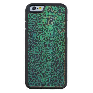 Capa De Madeira Cerejeira Bumper Para iPhone 6 Teste padrão azul do fractal