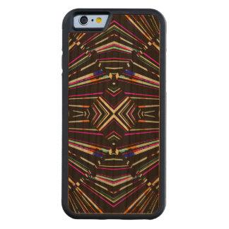Capa De Madeira Cerejeira Bumper Para iPhone 6 Teste padrão corajoso afiado étnico escuro