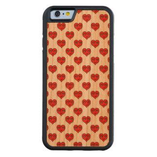 Capa De Madeira Cerejeira Bumper Para iPhone 6 Teste padrão do desenho da forma do coração de