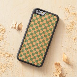 Capa De Madeira Cerejeira Bumper Para iPhone 6 Teste padrão do tabuleiro de damas do Aqua