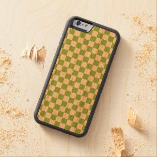 Capa De Madeira Cerejeira Bumper Para iPhone 6 Teste padrão do tabuleiro de damas do verde