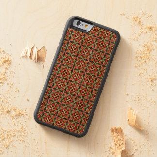 Capa De Madeira Cerejeira Bumper Para iPhone 6 Teste padrão sem emenda retro geométrico abstrato