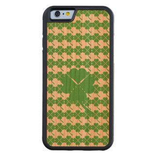 Capa De Madeira Cerejeira Bumper Para iPhone 6 trevo da Quatro-folha