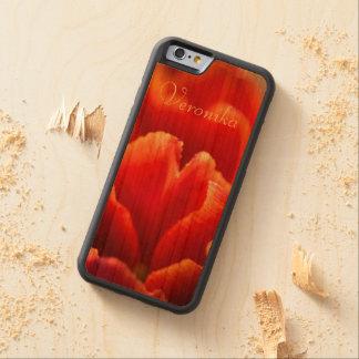 Capa De Madeira Cerejeira Bumper Para iPhone 6 Tulipa vermelha