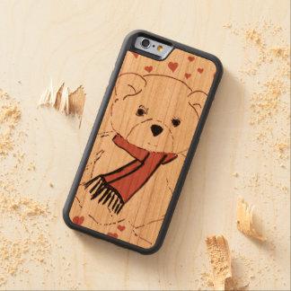 Capa De Madeira Cerejeira Bumper Para iPhone 6 Urso de ursinho branco com corações vermelhos