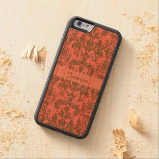 Capa De Madeira Cerejeira Bumper Para iPhone 6 Vintage, vermelho da violeta pálida & nome marrom