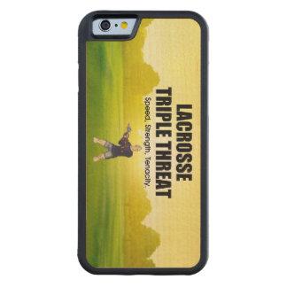 Capa De Madeira De Bordo Bumper Para iPhone 6 Ameaça SUPERIOR triplicar-se do Lacrosse