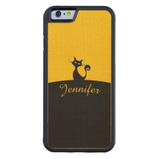 Capa De Madeira De Bordo Bumper Para iPhone 6 Arte mínima do gato preto, seu nome
