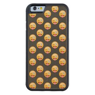 Capa De Madeira De Bordo Bumper Para iPhone 6 Cara louca Emoji