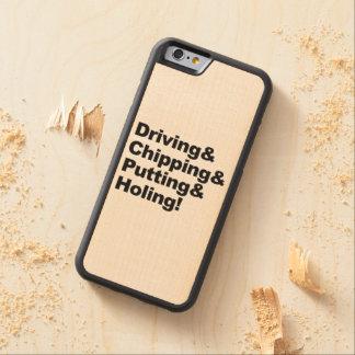 Capa De Madeira De Bordo Bumper Para iPhone 6 Driving&Chipping&Putting&Holing (preto)