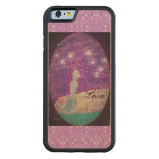 Capa De Madeira De Bordo Bumper Para iPhone 6 Fundo estrelado do rouxinol lírico da fantasia
