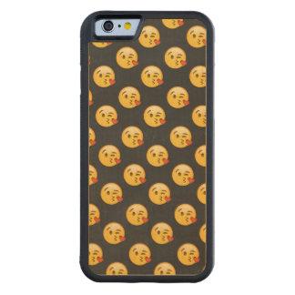 Capa De Madeira De Bordo Bumper Para iPhone 6 Kissy enfrenta Emojis