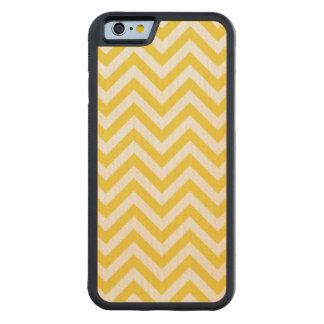 Capa De Madeira De Bordo Bumper Para iPhone 6 O ziguezague amarelo e branco listra o teste