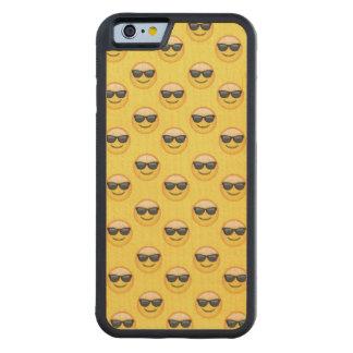 Capa De Madeira De Bordo Bumper Para iPhone 6 Sr. Refrigerar Óculos de sol Emoji
